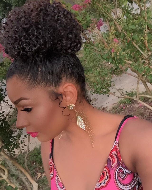 Throwback Of This High Curly Bun Side View Natural Hair Styles Hair Styles Curly Hair Styles