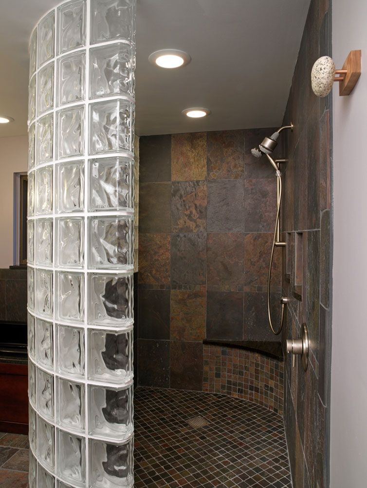 Curve The Block Wall With Images Glass Block Shower Glass