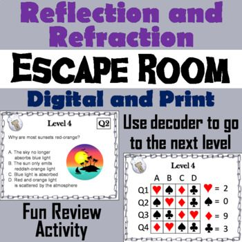 Reflection and Refraction Activity Escape Room - Science Students - copy blueprint decoded full