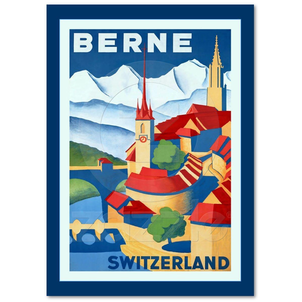 Berne switzerland vintage swiss travel poster zazzle