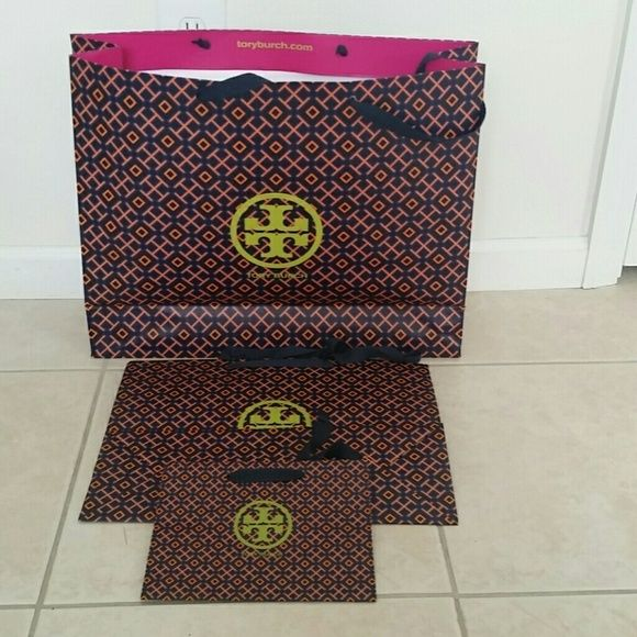 "Tory Burch gift bags - 3 sizes 1 large : 20"" l x 16 1/2 "" h x 6"" w  1 medium : 16"" l x 12"" h x 6"" w  1 xsmall : 9"" l x 7"" h x 3 3/4"" w  i have more, let me know how many you need. Tory Burch Other"