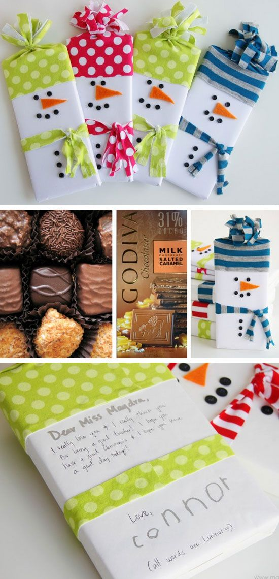 Snowman Wrapped Candy Gifts DIY Holiday Gift Ideas for