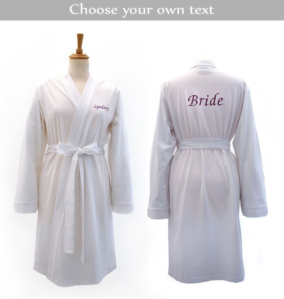 Wedding dressing gowns  Personalised White Bridal Jersey Wedding Dressing Gown for Bride