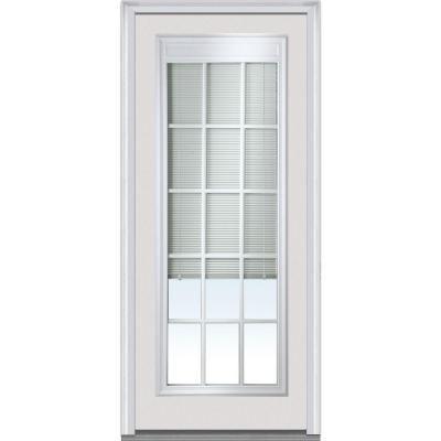 Milliken Internal Mini Blinds Clear Glass Full Lite Primed White