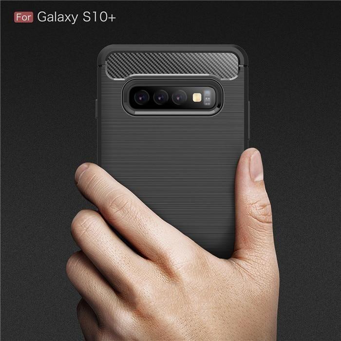 Carbon Fiber Texture Shockproof Case for Samsung S10 / S10 Plus / S10