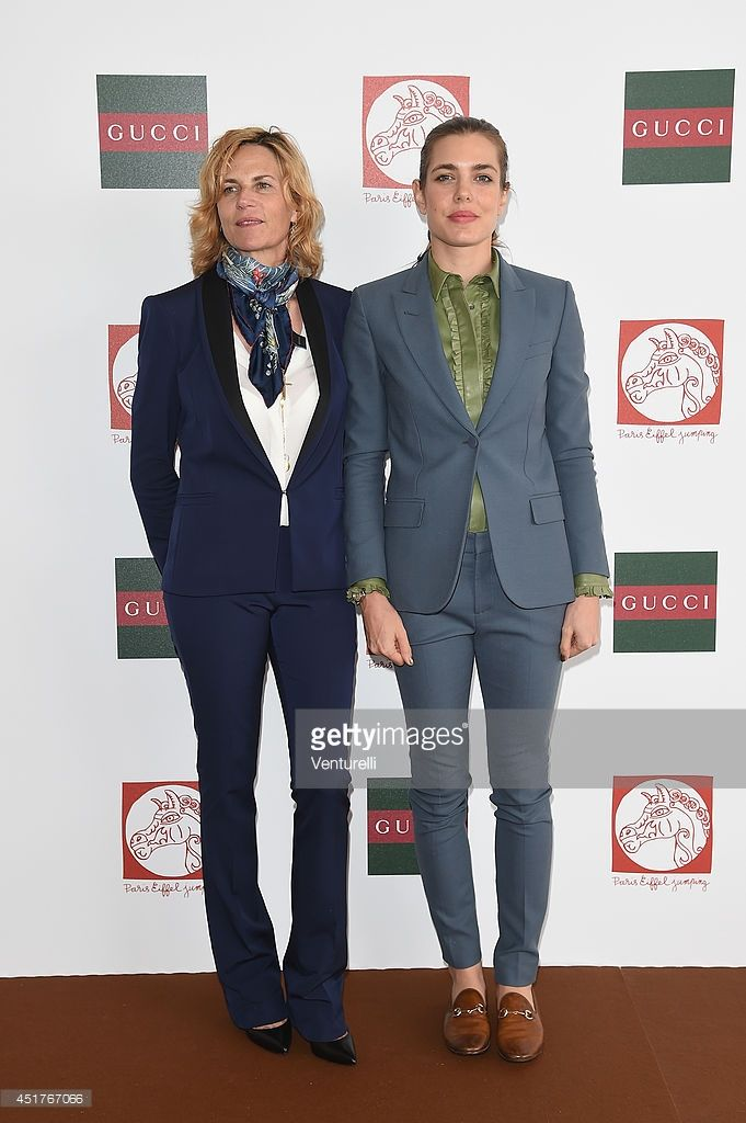 7ee2af12a9 Virginie Couperie-Eiffel and Charlotte Casiraghi attend the Paris Eiffel  Jumping presented by Gucci at Champ-de-Mars on July 6