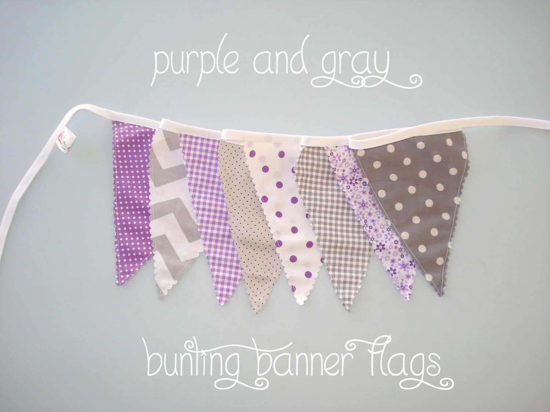 Polkadot Lilac Purple Personalised Baby Shower Bunting