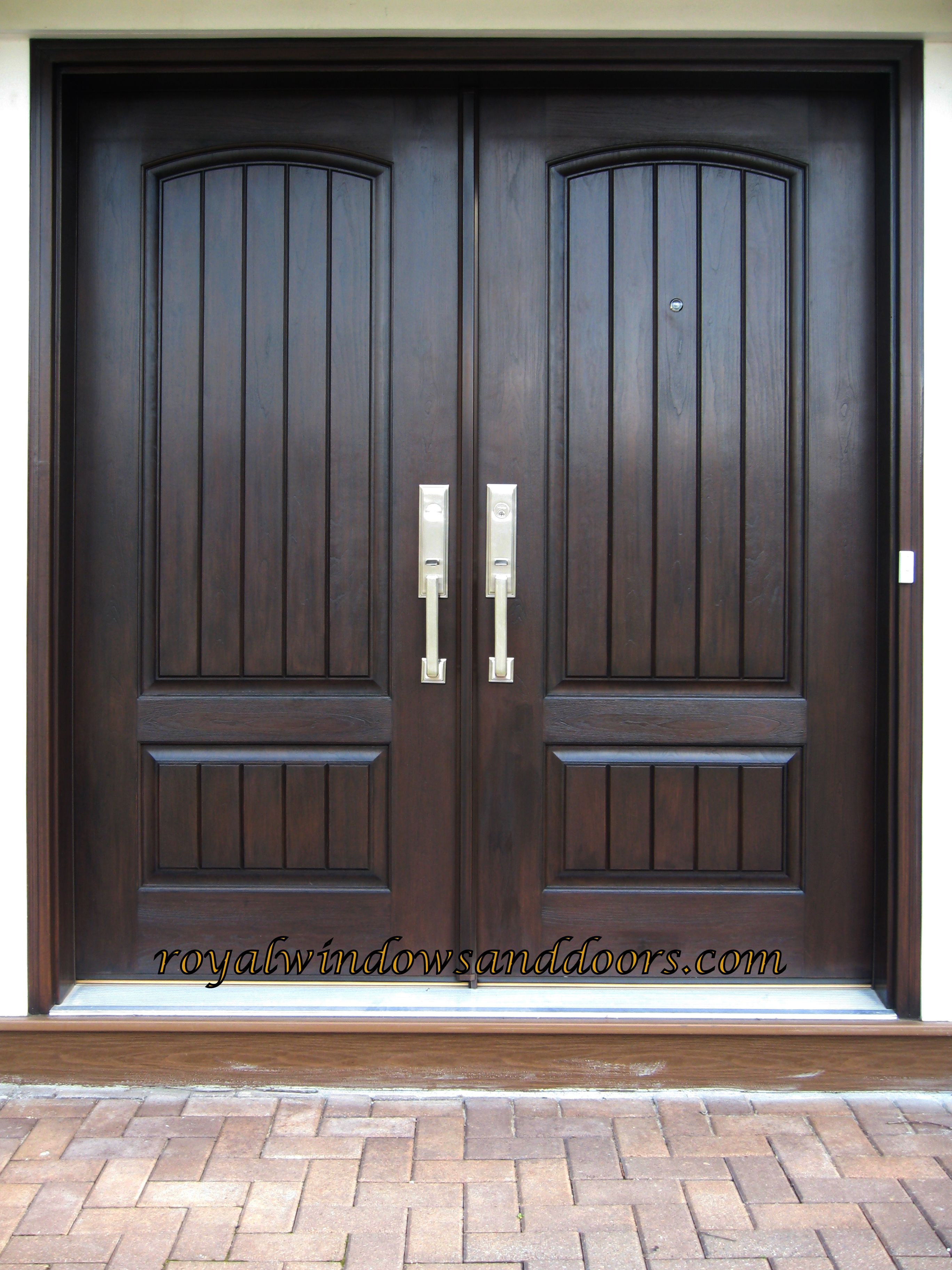 Double Plank Door Fiberglass Painted in dark wood finish Long