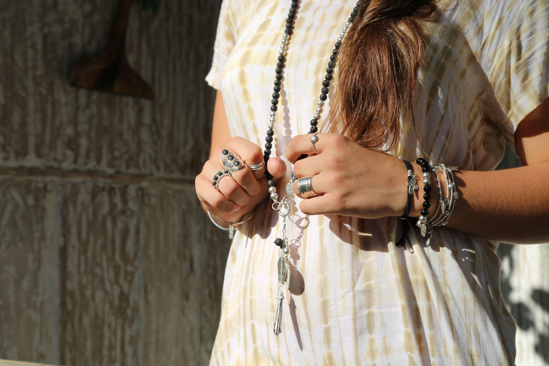 Bague argent perle de jade hippy chic pierre lave noire