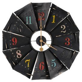 "Bring charming appeal to your kitchen or home office with this eye-catching wall clock, showcasing a paned design with multicolor numerals and a distressed black finish.  Product: Wall clockConstruction Material: MetalColor: Black and multiFeatures:  Distressed finishPaned designStandard numbersQuartz movementReady to hang with all hardware includedManual resetAccommodates: (1) AA battery - not includedDimensions: 27.5"" Diameter x 2"" DCleaning and Care: Wipe clean with a dry cloth"