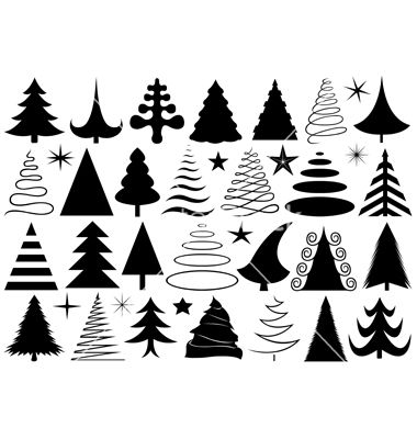 Set Of Different Christmas Trees Vector Image On Vectorstock Christmas Tree Drawing Different Christmas Trees Christmas Drawing