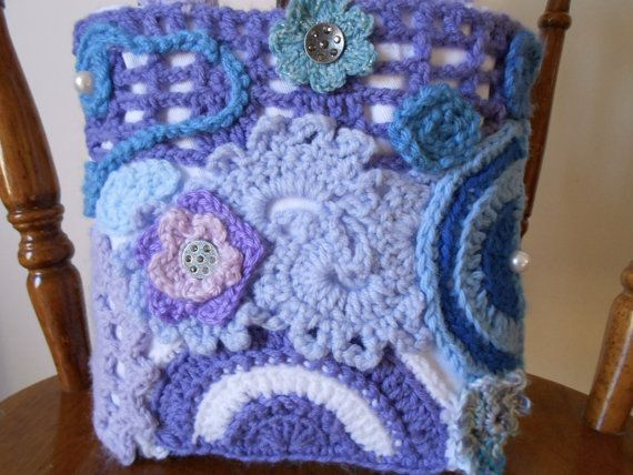 Purple and blue embellished tote bag with beads by CrochetByTeresa, $30.00