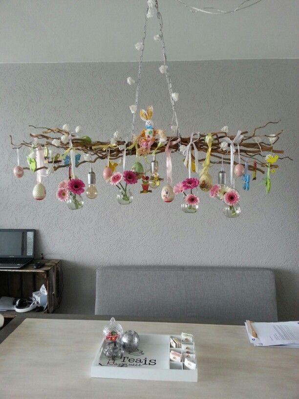 Takkenlamp Met Paasdecoratie Paasdecoratie Lente Decoratie Knutselen Paasideeen