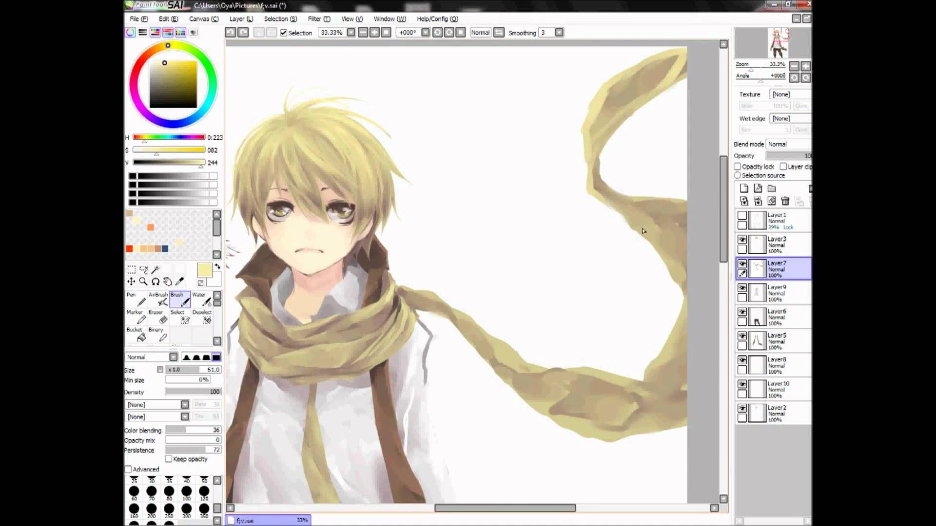 Anime Manga Boy Flavus Drawing With Paint Tool Sai Paint Tool Sai Manga Gift Painting Tools