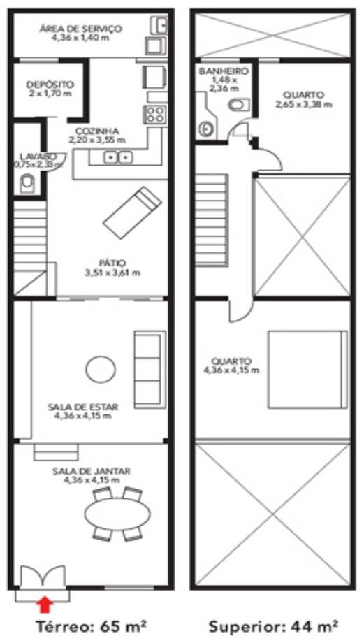 Plano de casa angosta en dos plantas distribucion for Distribucion de casas modernas