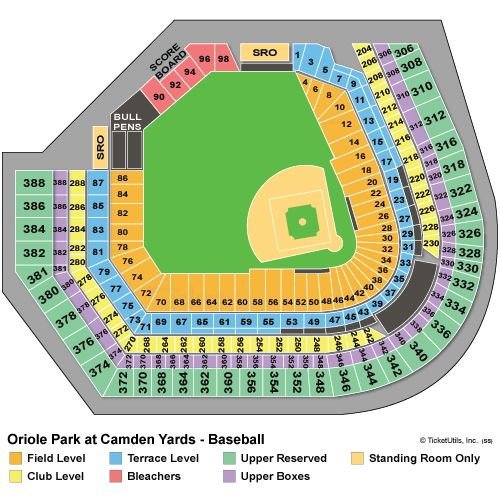 Basenall Camden Yards Seating Charts Orioles