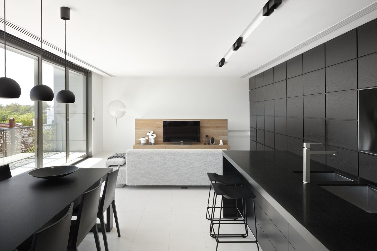 Black and white kitchen and living room design