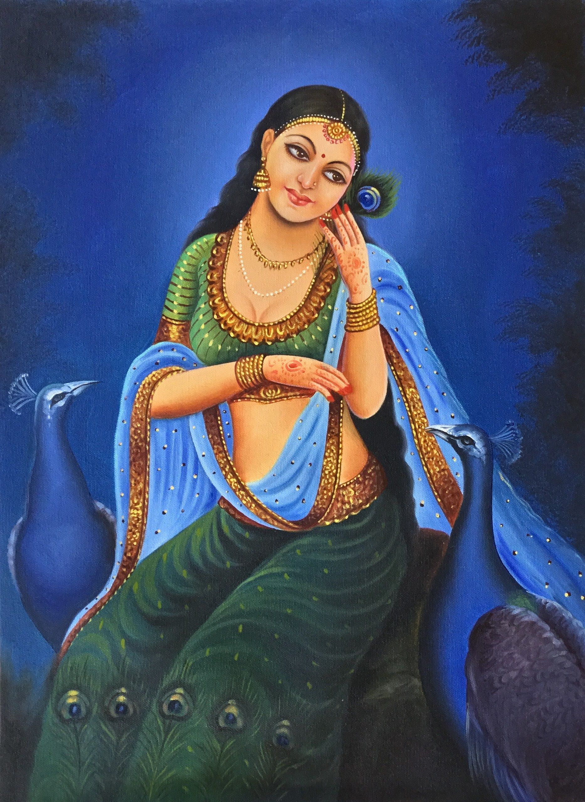 Rajasthan Lady Painting Handmade Indian Damsel Peacock Wall Decor