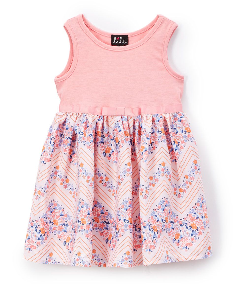 fbf4b0697c77 Take a look at this Lilt Coral Floral Chevron Sleeveless Dress - Toddler  today!