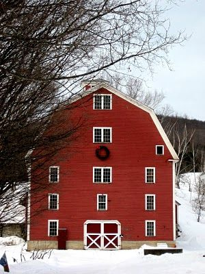 five-story red barn in Vermont