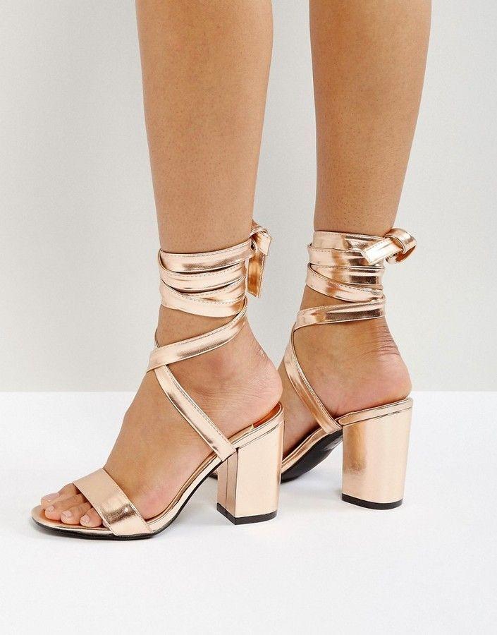 394ee2ae6ef4 Park Lane Tie Ankle Block Metallic Heel Sandals