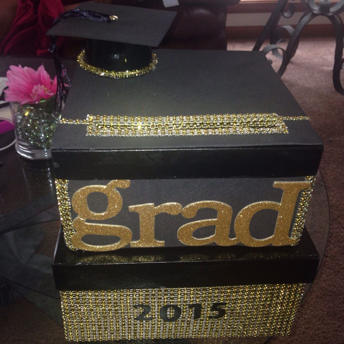 Black And White Congrats Grad Party Card Box Graduation Party