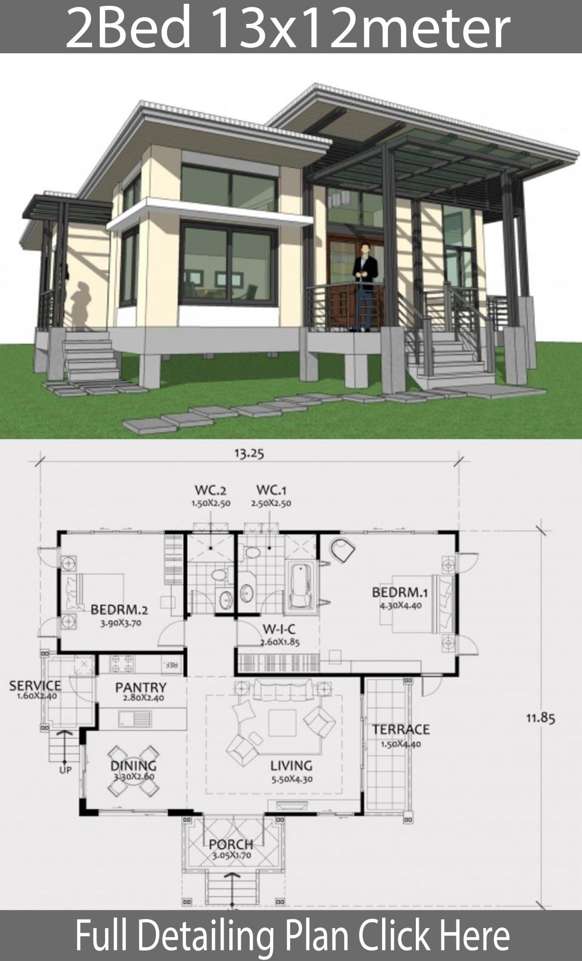 One Story House Plan 13x12m With 2 Bedrooms Home Design With Plansearch One Story Homes Story House House Plans Farmhouse