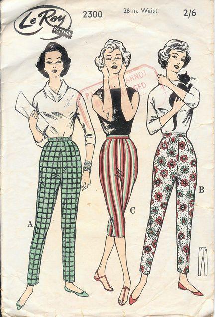 Vintage 1950s Le Roy Paper Pattern Of Women S Capri Pants