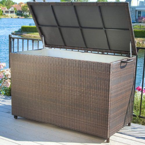 Pool Supply Storage For Swimming Accessories Brown Wicker Patio Box This Weather Resistant Cabinet Has Interior Lining And