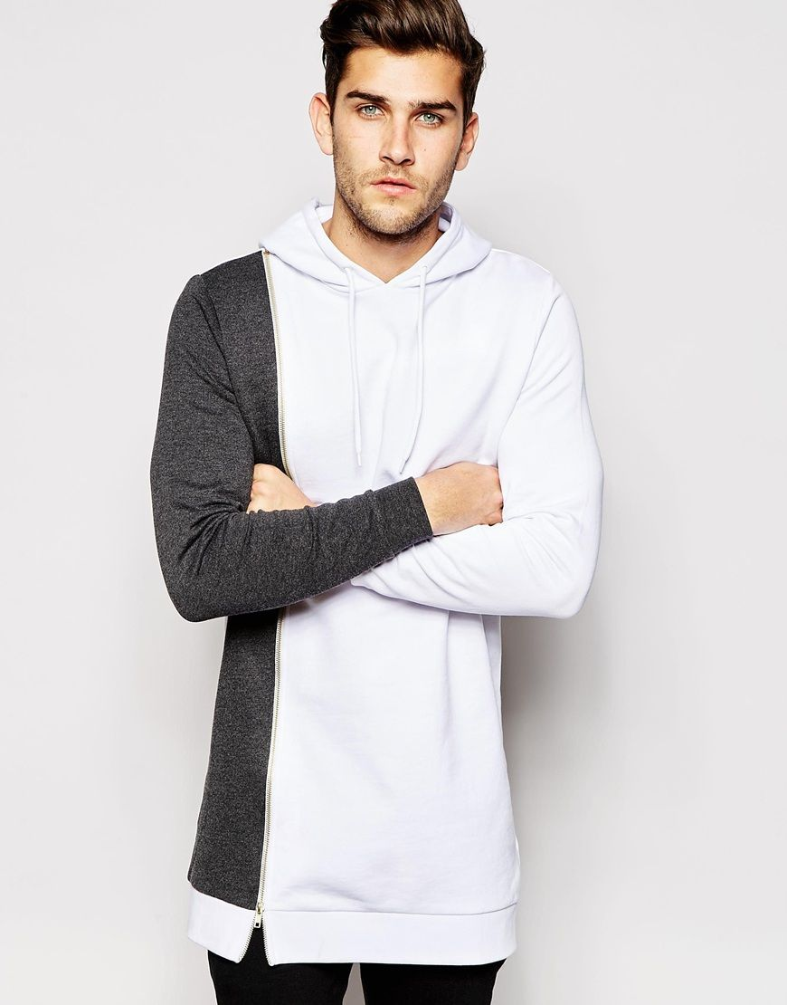 ASOS Super Longline Hoodie with Zip & Contrast Panel I can never tell what percentage of my love for ASOS menswear is about the clothes and how much is the fact that they look so good on their non-traditional-super-edgy models...