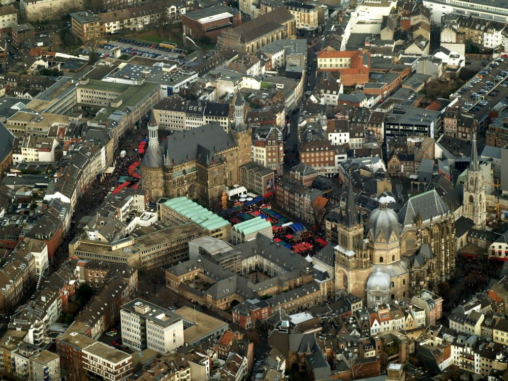 Aachen Cathedral, Market and Town Hall with Christmas Market 2008 by Mark L Odenthal