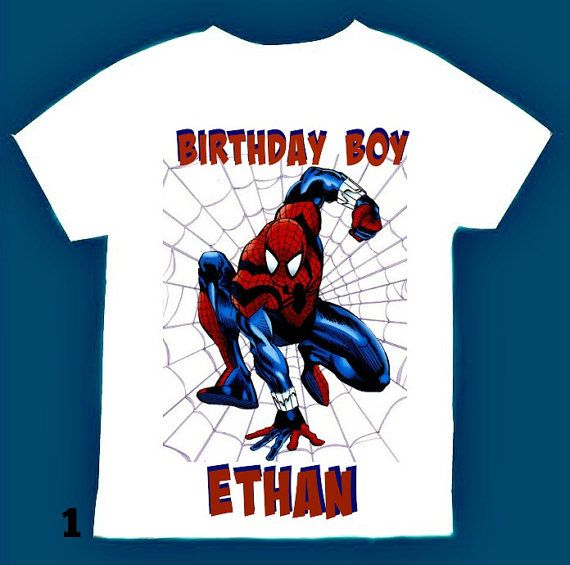 Spiderman Birthday Boy Shirt Personalized With Child Name And Age