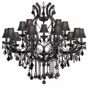 Jet Black Chandelier Crystal Lighting Chandeliers H38 X W37 With Black Shades Traditio Black Crystal Chandelier Chandelier Shades Crystal Chandelier Foyer