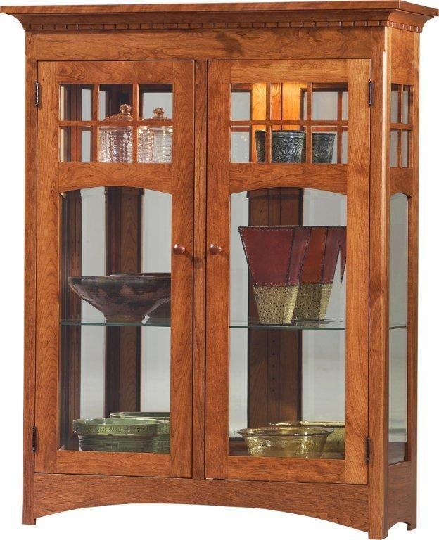 Amish Santa Fe Short 2 Door Curio Cabinet Cabinet Amish Curio Cabinets 44745 Curio Cabinet Glass Cabinets Display Curio