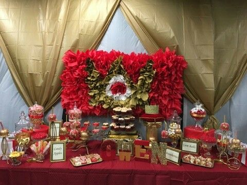 Red White Gold Baby Shower Sweet Table