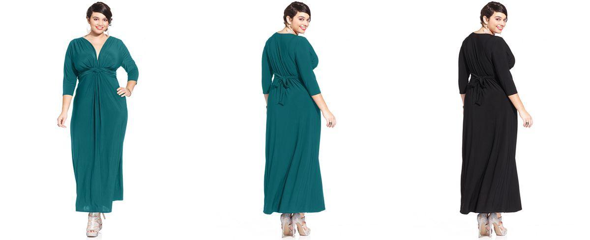 Plus Size Three-Quarter-Sleeve Knotted Maxi Dress | curvy | Dresses ...