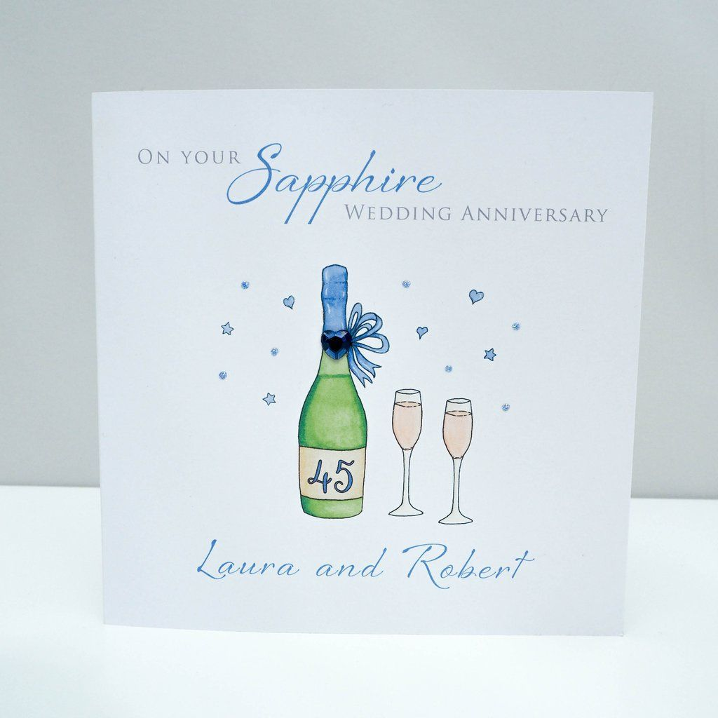 Handmade Personalised Sapphire Wedding Anniversary Card