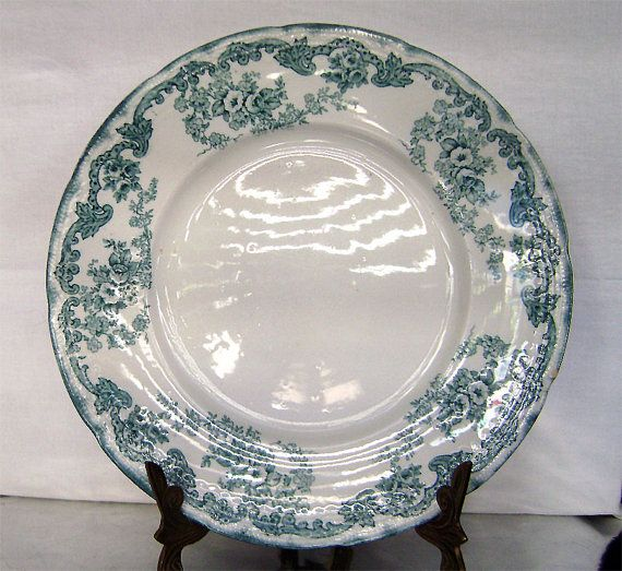 Beautiful Victorian transfer ware Teal Blue/Green big scalloped dinner plate made in England by & Beautiful Victorian transfer ware Teal Blue/Green big scalloped ...