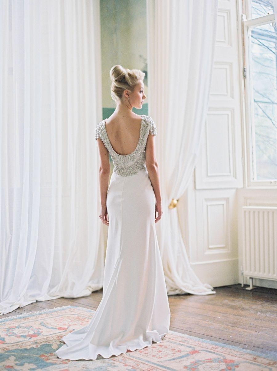 Glamorous Romantic Irish Manor House Wedding Inspiration Vintage Inspired Wedding Dresses Classic Wedding Dress Backless Wedding Dress