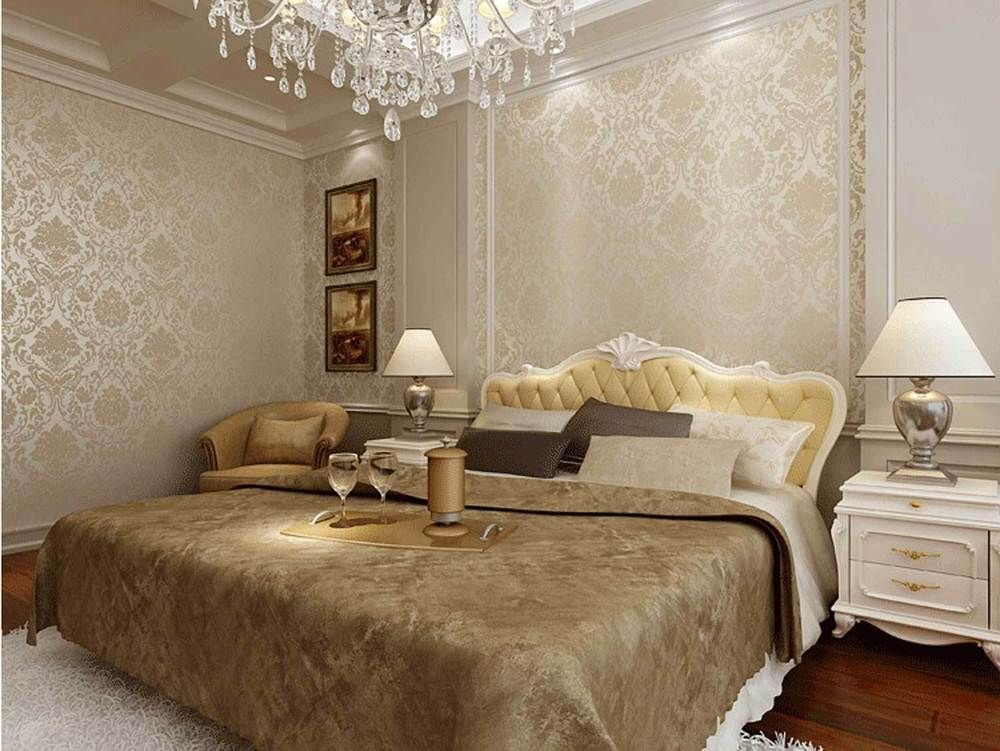 Best Bedroom Wallpaper Cream 10M Light Beige Damask Flocking 640 x 480