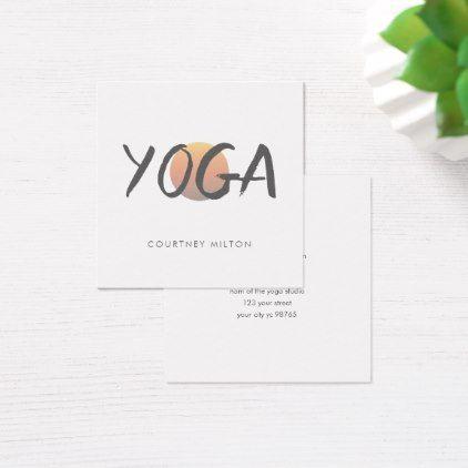 simple elegant orange sun yoga instructor square business card modern style idea design custom idea - Idea Design