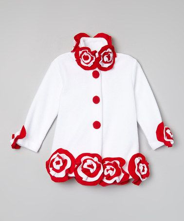 This White & Red Flower-Trim Coat - Infant, Toddler & Girls by Little Miss Fashion is perfect! #zulilyfinds