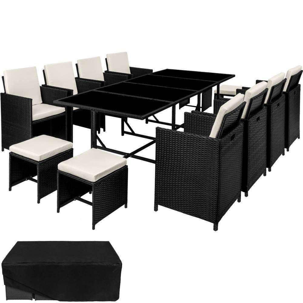 Rattan Sitzgruppe Palma 8 4 1 Mit Schutzhulle Variante 1 Schwarz