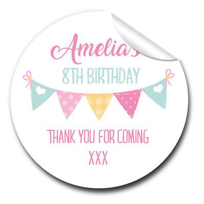 Glossy personalised bunting birthday party bags labels sweet cones stickers