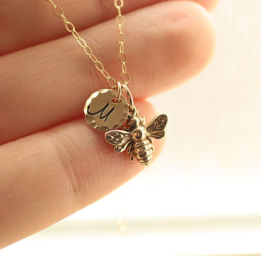 Charm Bracelets Gold: Tiny Honey Bee Necklace, Gold Initial Charm Necklace