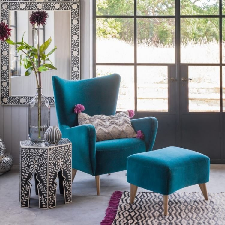 Furniture Modern Blue Wingchair Stool Vintage Turquoise Upholstery ...