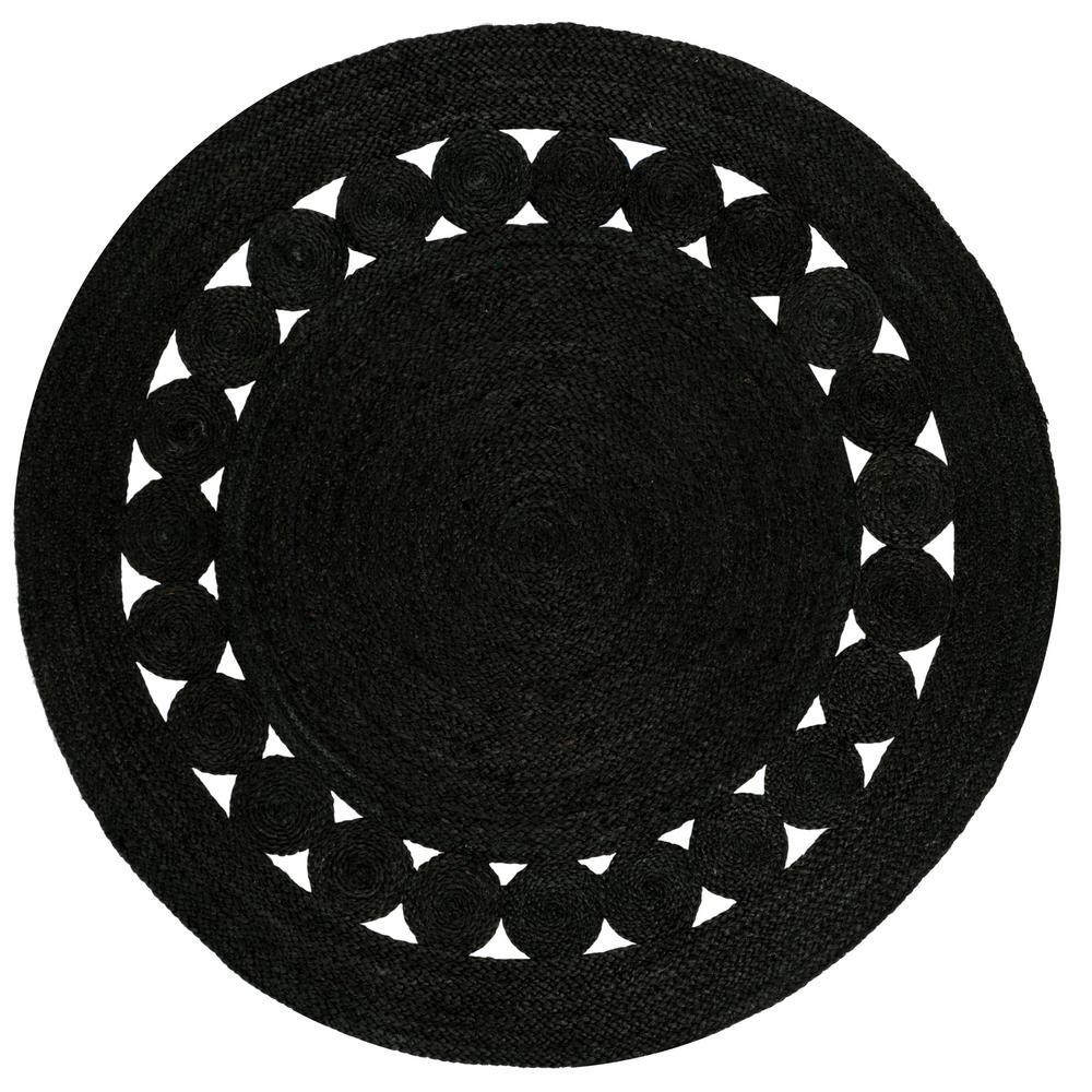Safavieh Natural Fiber Black 3 Ft X 3 Ft Round Area Rug Area