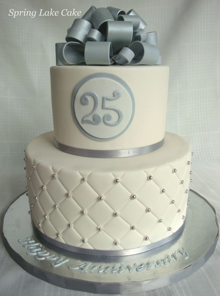 Silver Anniversary Cake 25th Wedding Anniversary Cakes Silver