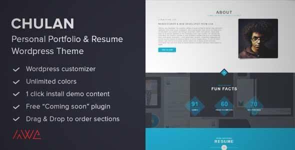 Download and review of Chulan - Personal Portfolio \ Resume Theme - wordpress resume themes