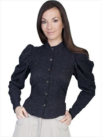 Scully 710601-BLK-M WahMaker Womens Victorian Old West Blouse Black Medium